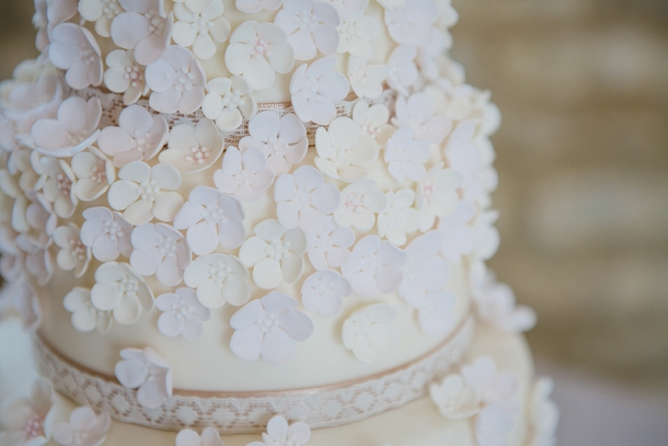 cascading petal wedding cake by the pretty cake company