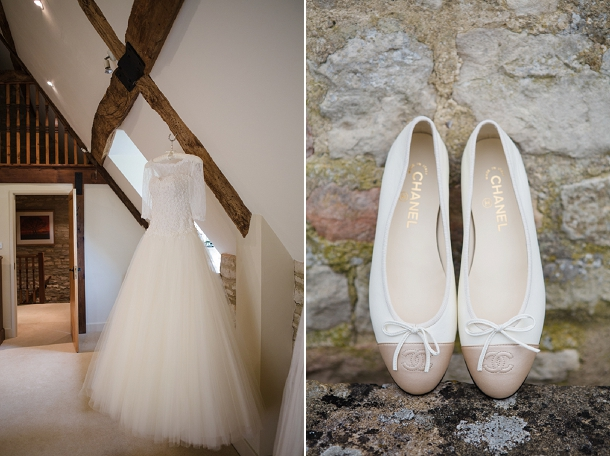 Sassi Holford wedding dress and Chanel pumps