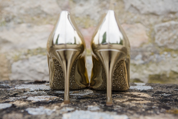 Gold miu miu wedding shoes
