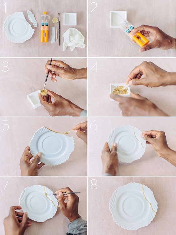 bloved-uk-wedding-blog-Kintsugi-diy-gold-crockery-Tutorial-Steps