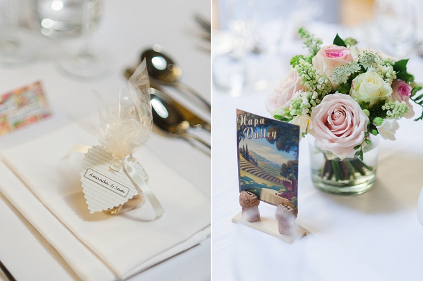 Vintage postcards travel themed table names