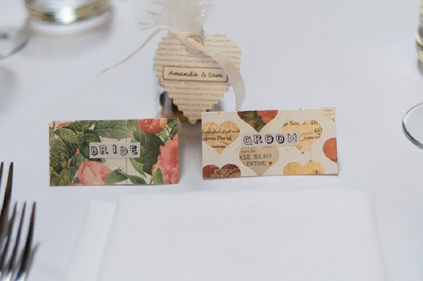bride & groom place cards diy