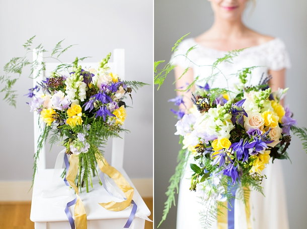 Freesia, sweet pea, rose, scabious & asparagus fern cascading yellow & lavender mediterranean bouquet  by Bluesky Flowers & Louise Beukes Styling