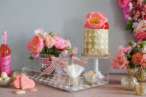 Pink, red and gold dessert table by Louise Beukes Styling