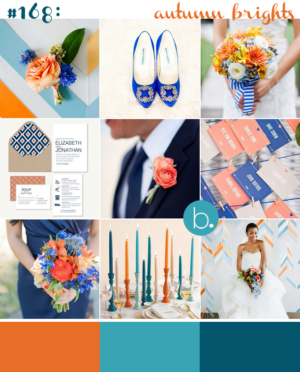 orange, navy and teal wedding colour palette inspiration board with modern prints and geometric patterns