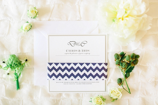 Navy chevron wedding invite by Knots & Kisses