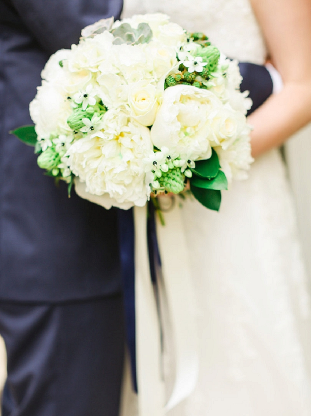 White peony & hydrangea bridal bouquet with navy ribbons by Blue Sky  Flowers