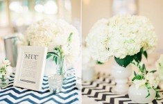 Navy & white chevron table settings with runners from The Sweet Hostess, Flowers by Blue Sky Flowers, Styling by Louise Beukes Styling