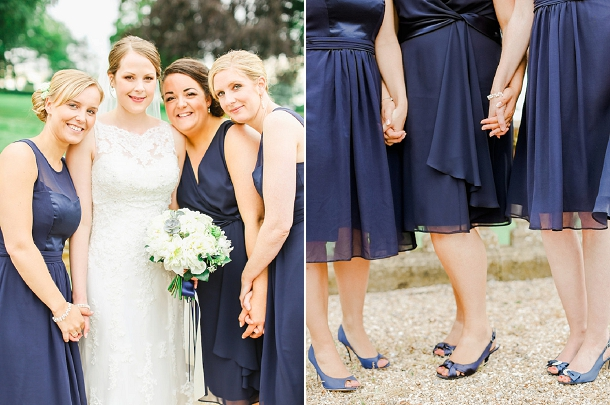 Navy bridesmaids dresses and shoes from Debenhams