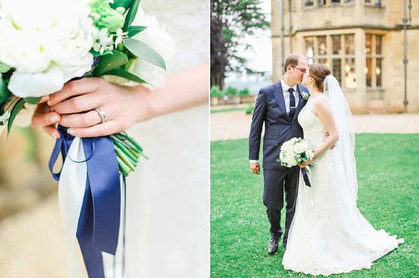 White peony & hydrangea  bouquet with navy ribbons by Blue Sky Flowers