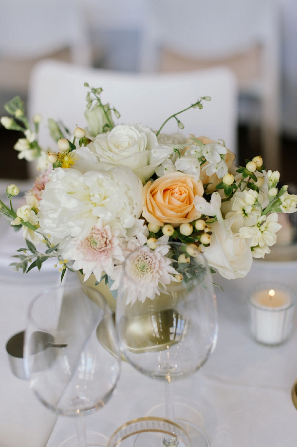 Blush, gold & navy winter wedding table setting