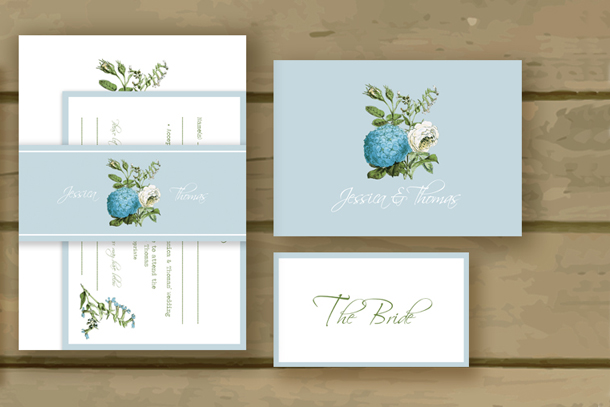 Botanical Powder Blue & White Tuscany Wedding Invite
