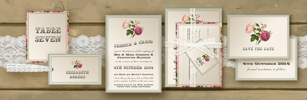 Botanical Pink & Plum Victorian Garden Wedding Invite