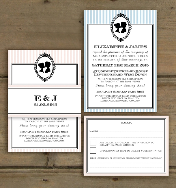 Powder Blue and Blush with Black Cameo Wedding Invite