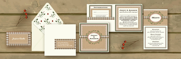 Vintage Holly & Tartan Christmas Wedding Stationery