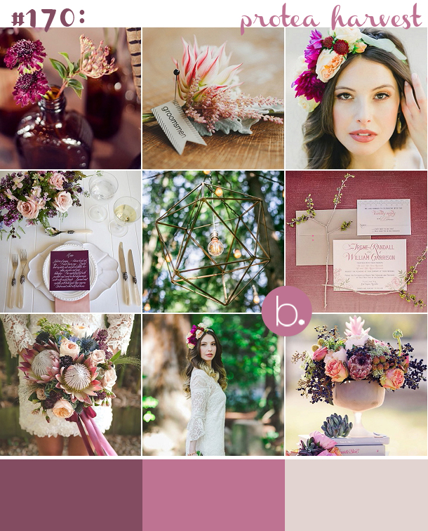 Purple & plum protea wedding inspiration for a rustic autumn wedding