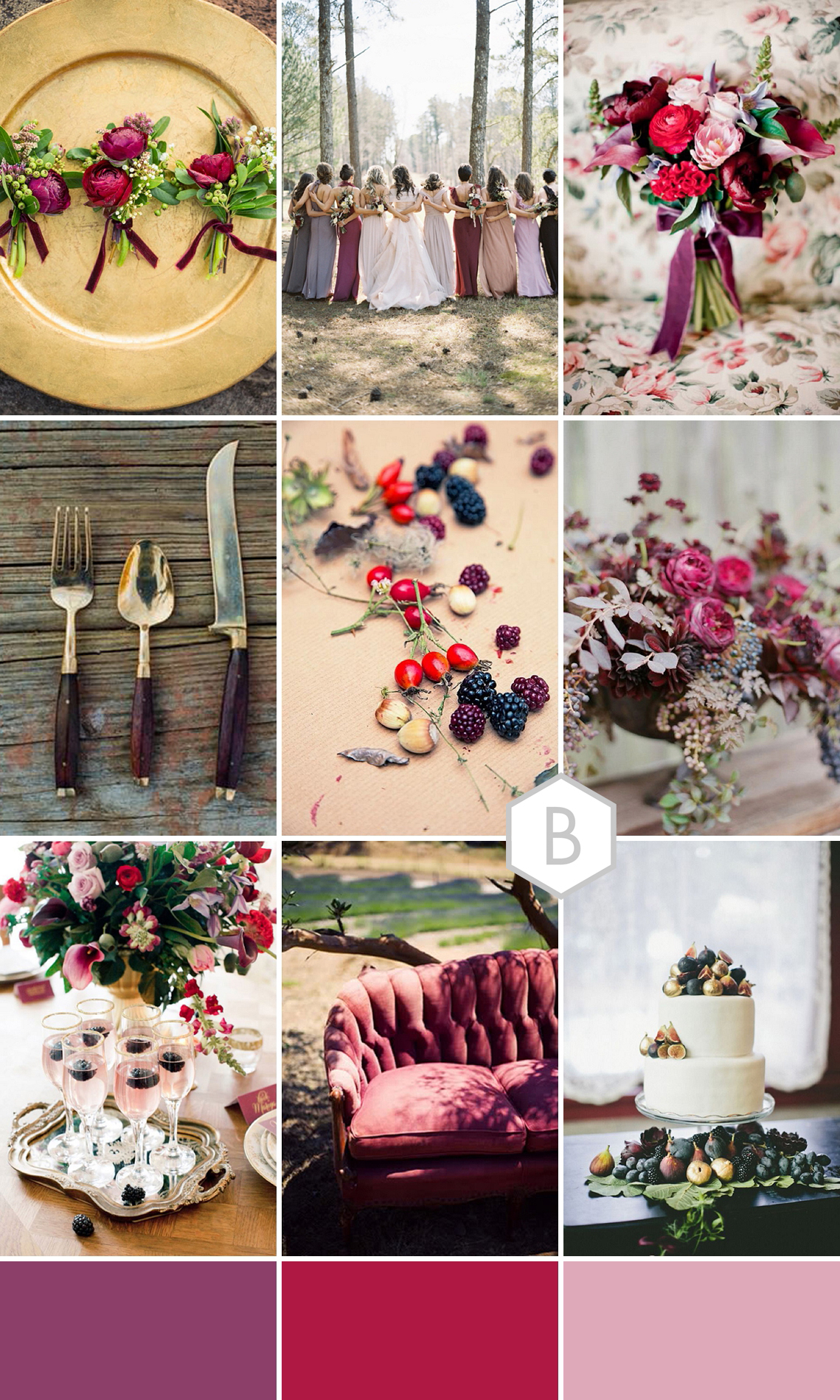 berry red plum wedding colour palette