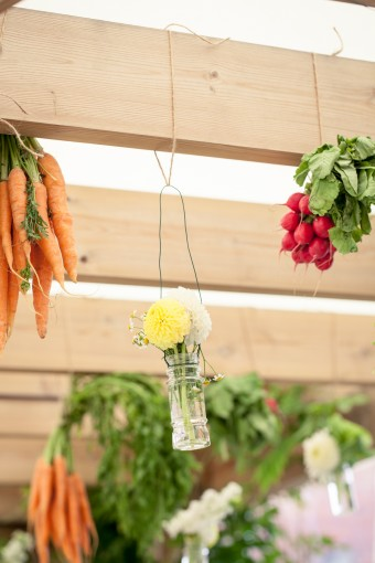 Hanging vegetable floral arrangements by Bo Boutique Flowers