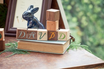 wooden block place cards