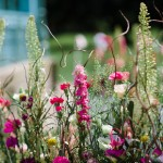 colourful wildflower aisle decoration