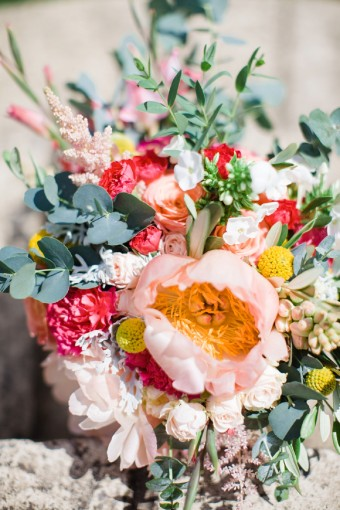 bright wildflower and peony wedding bouquet