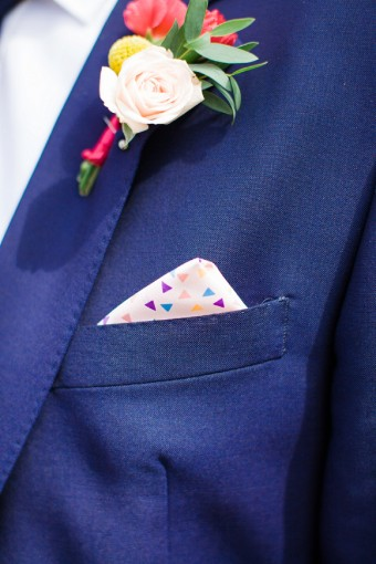 colourful groomswear with polkadot hanky