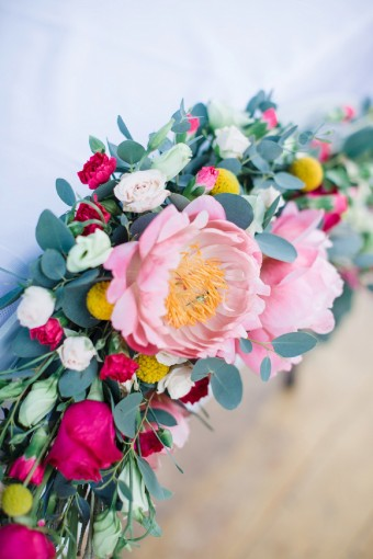 bright wildflower and peony wedding flowers