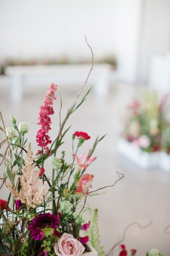 Sex and the City inspired wedding with colourful wild flower arrangements