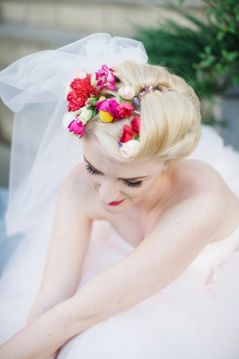 Colourful floral headpiece