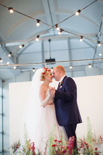 city wedding with festoon lights