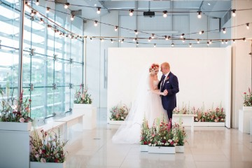 organic industrial wedding with festoon lights