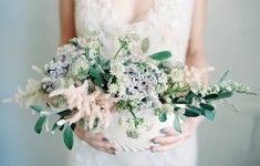 Blush and powder blue floral arrangement