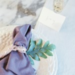 steel blue napkin place setting
