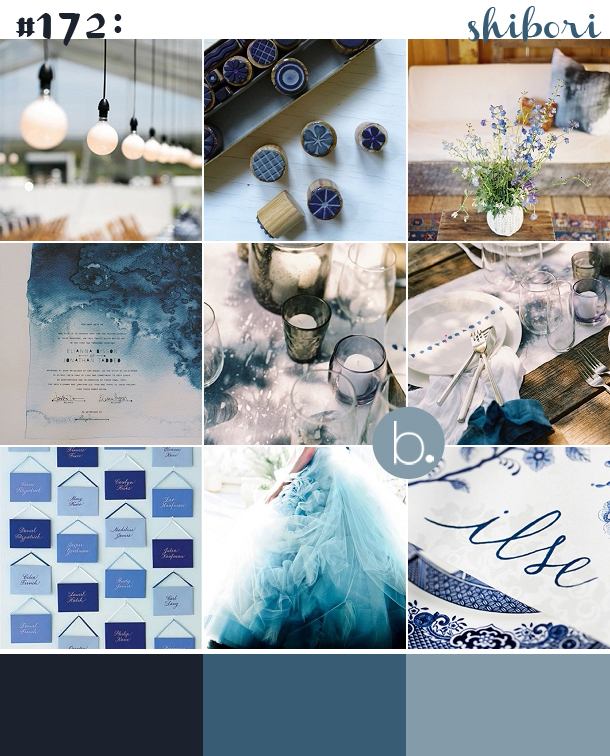 Indigo Blue Dip Dye Shibori Wedding Inspiration
