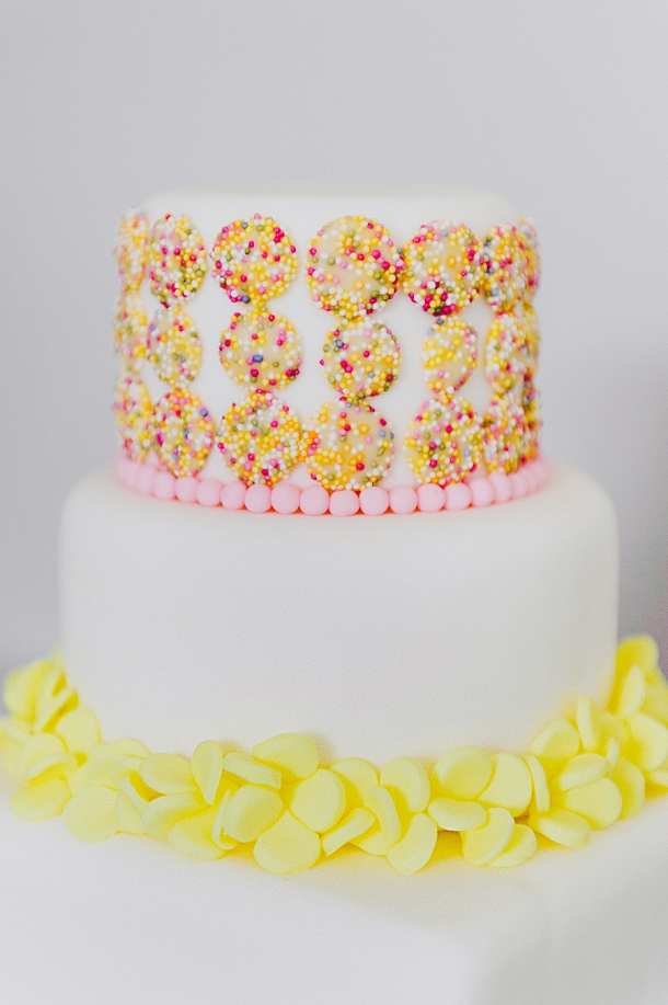 Hundreds and thousands coloured sprinkles wedding cake by Pink Elephant Cakes