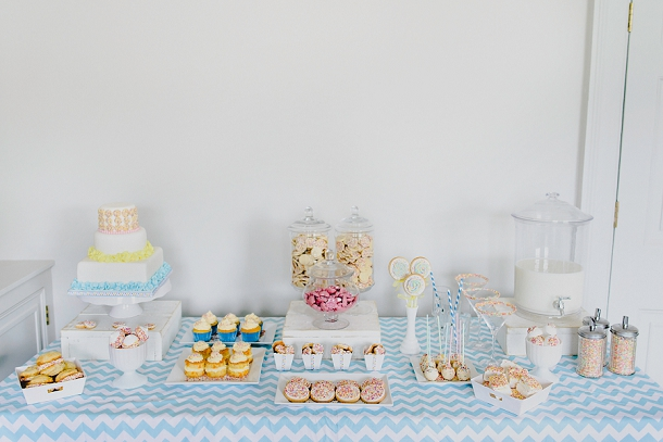 Colourful sprinkles dessert table by Pink Elephant Cakes