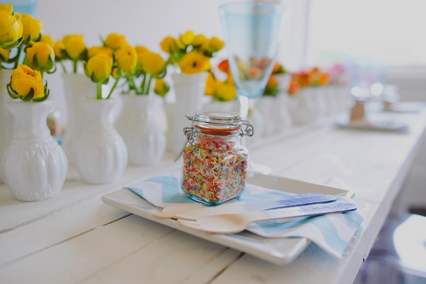 Coloured sprinkles wedding favour jar