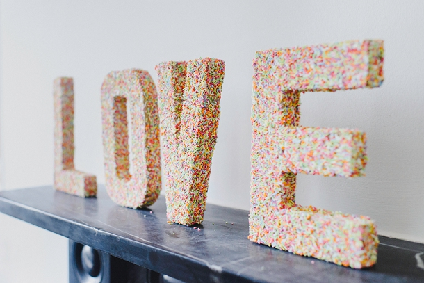 DIY coloured sprinkled love letters