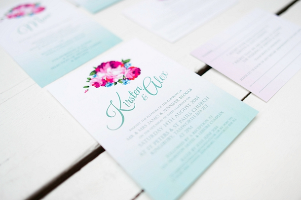 Aqua Ombre wedding stationery by Knots & Kisses