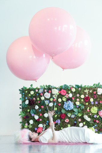 colourful floral & moss wedding backdrop