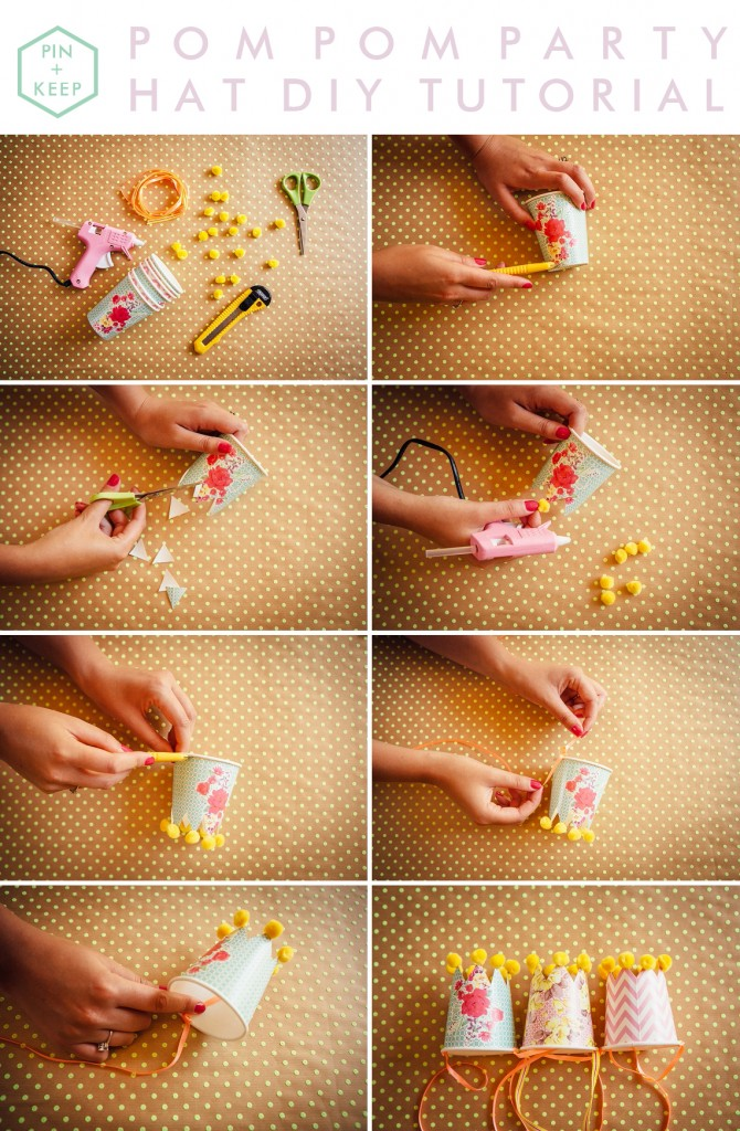 Mini Pom Pom Paper Cup Party Hats DIY tutorial wedding party celebration by Hip Hip Hooray