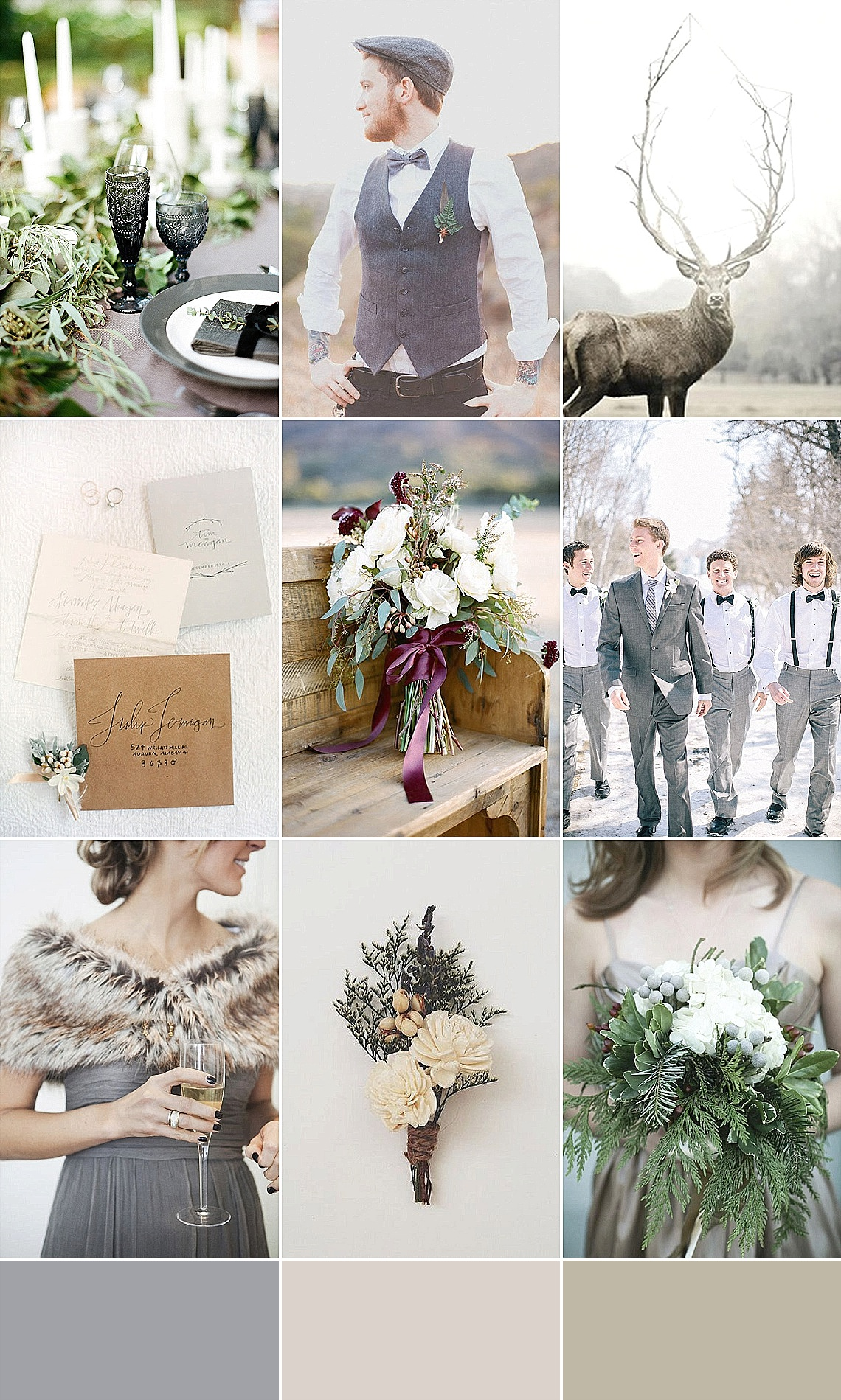 Neutral & Natural Grey Wedding Inspiration Mood Board