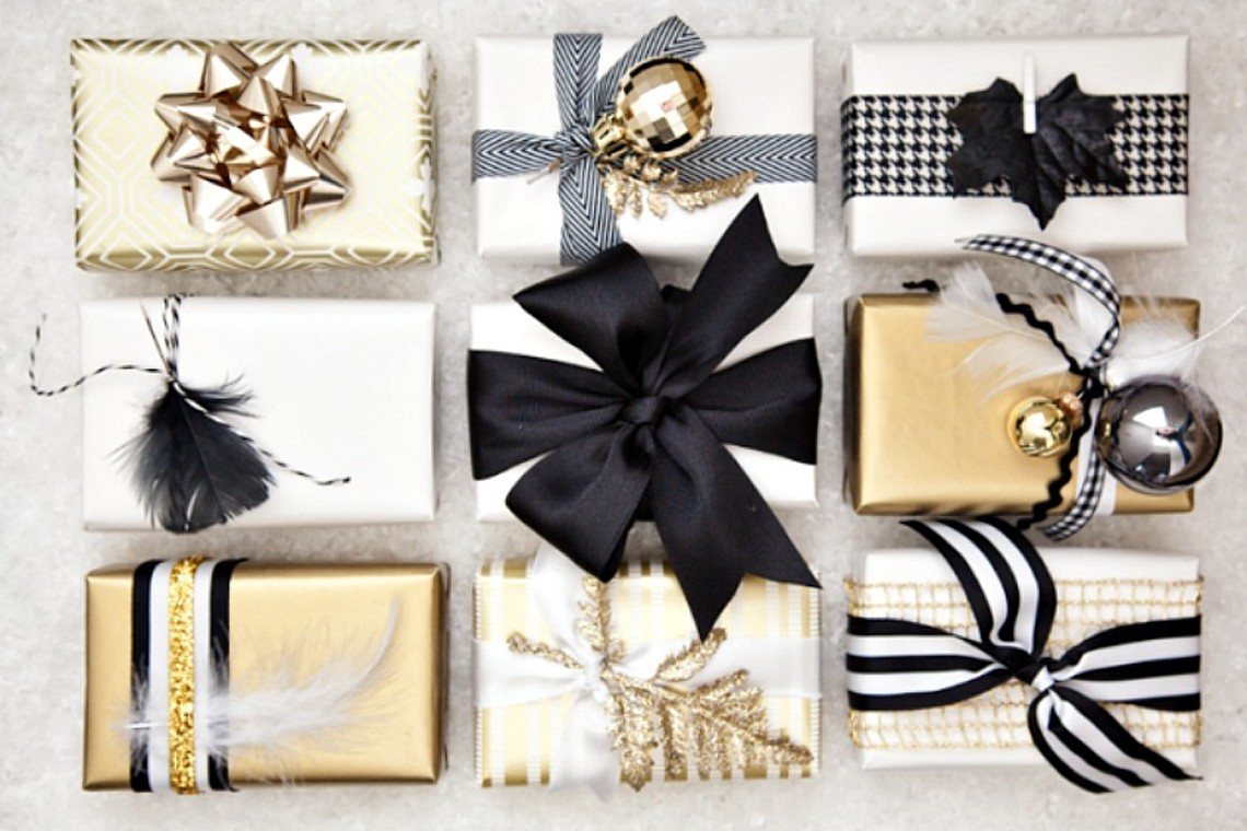 Black and gold christmas gifts