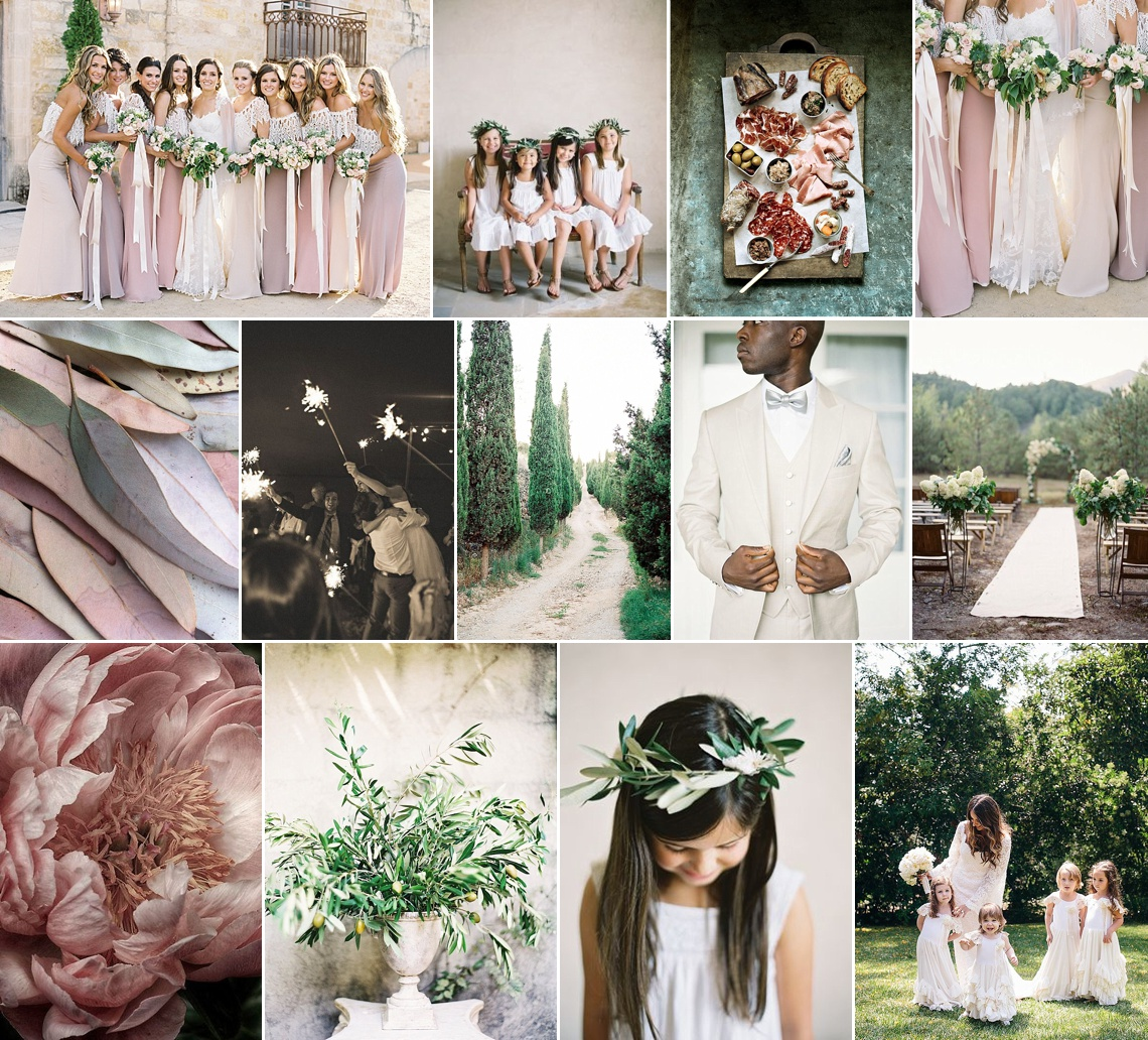 Rustic blush & grey Mediterrean wedding inspiration