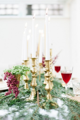 brass candlesticks christmas decor