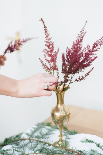 brass vase with burgundy astilbe