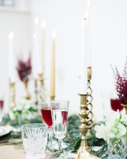 red green & gold brass candlesticks christmas decortablescape