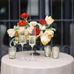 red & gold champagne drinks table