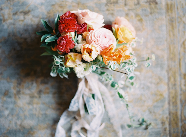 Red orange pink bouquet by the owl & the oak