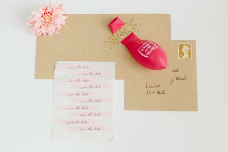pink & kraft paper save the date